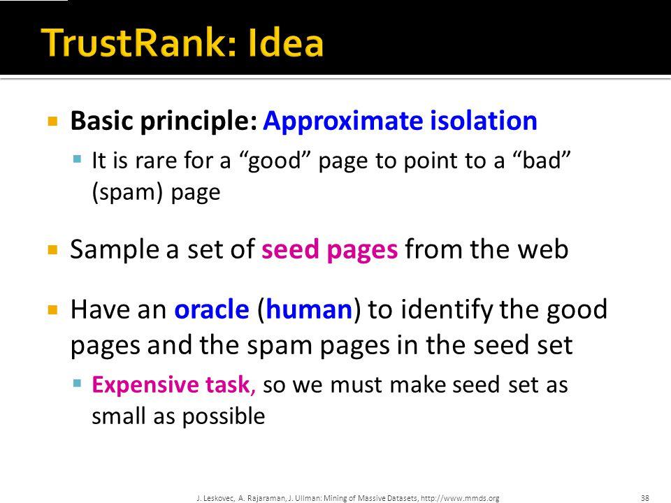 TrustRank: Idea Basic principle: Approximate isolation