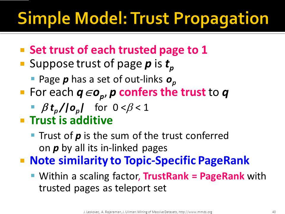 Simple Model: Trust Propagation