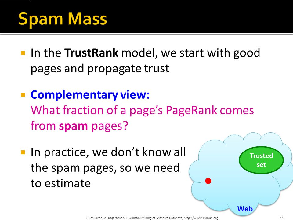 Spam Mass In the TrustRank model, we start with good pages and propagate trust. Complementary view: