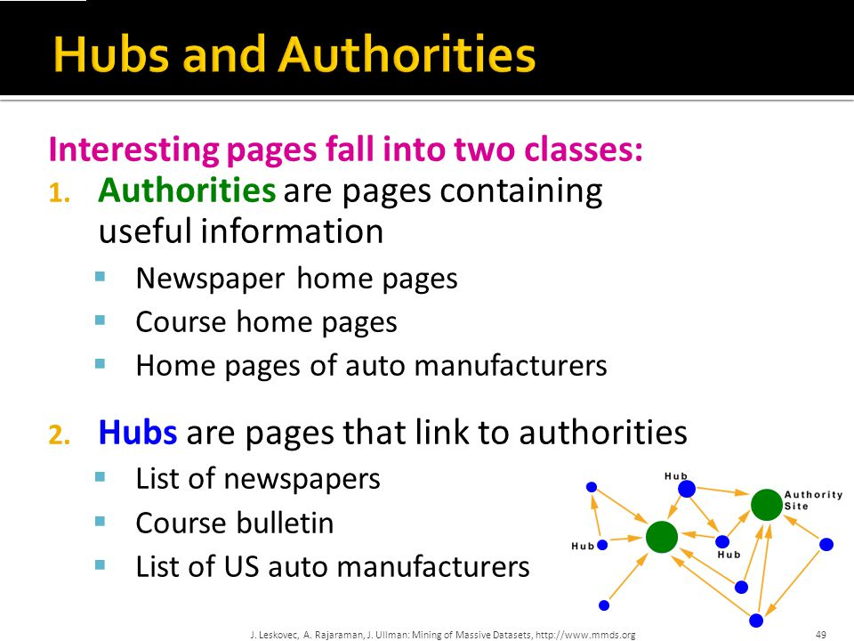 Hubs and Authorities Interesting pages fall into two classes: