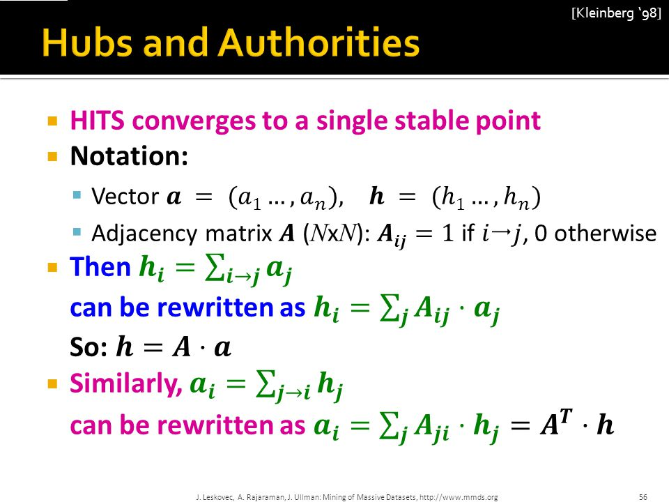 Hubs and Authorities HITS converges to a single stable point Notation: