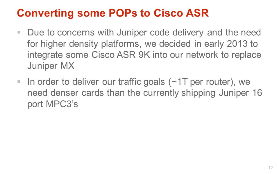 Converting some POPs to Cisco ASR