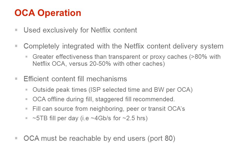OCA Operation Used exclusively for Netflix content