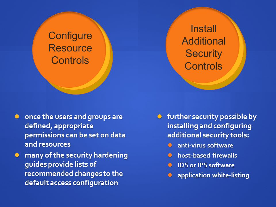 Install Configure Additional Resource Security Controls Controls