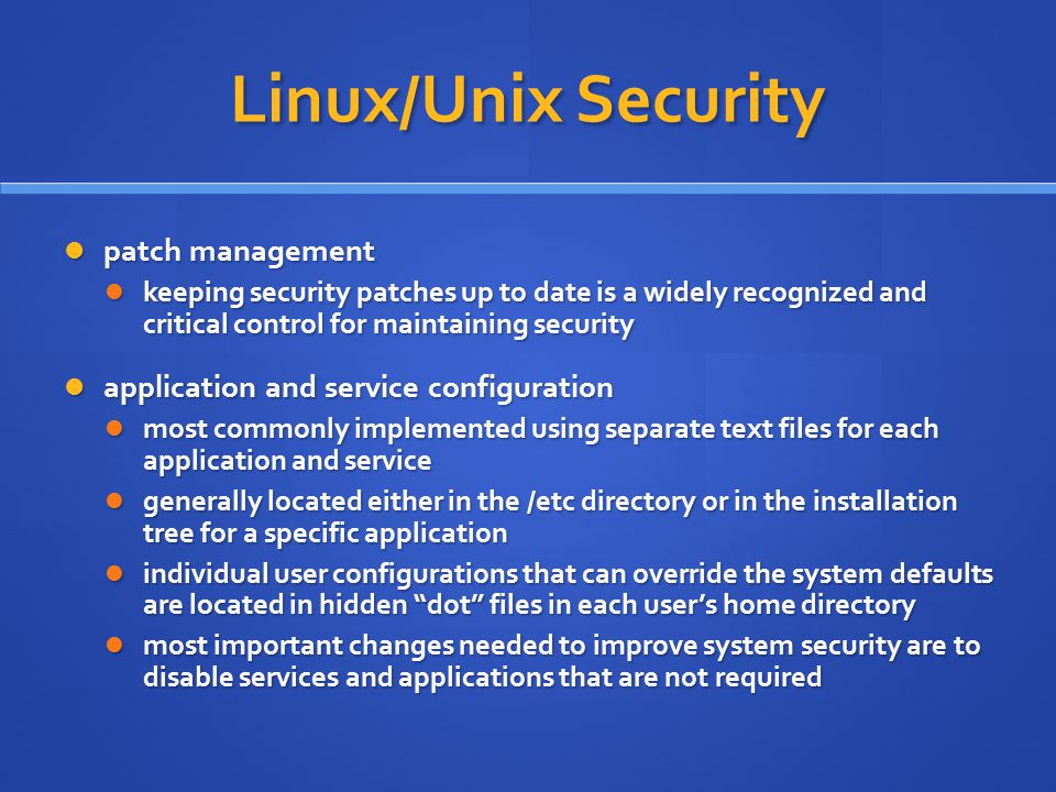 Linux/Unix Security patch management