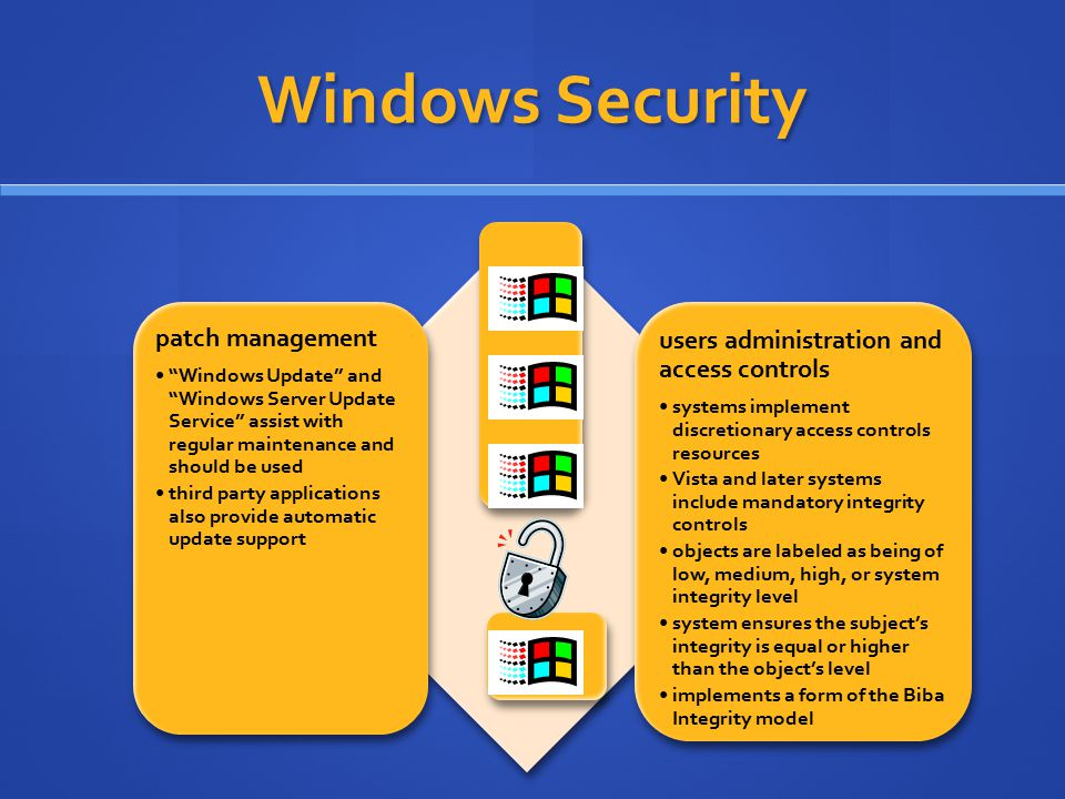Windows Security users administration and access controls