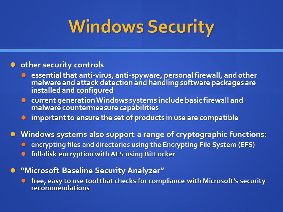 Windows Security other security controls