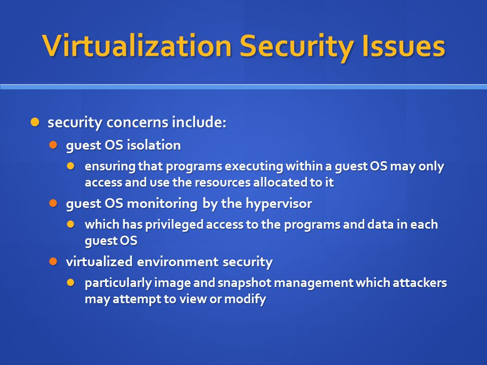 Virtualization Security Issues