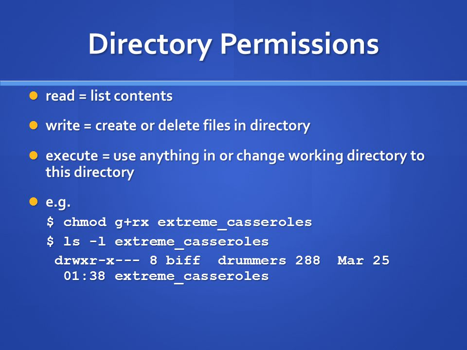 Directory Permissions