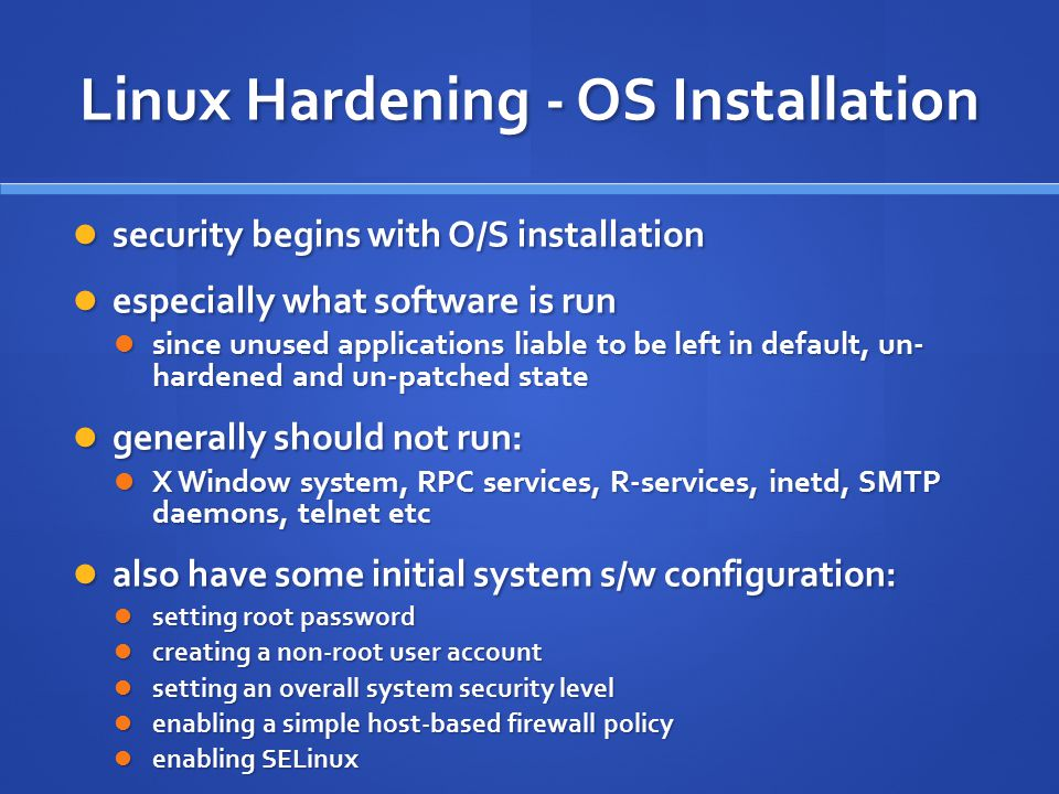 Linux Hardening - OS Installation