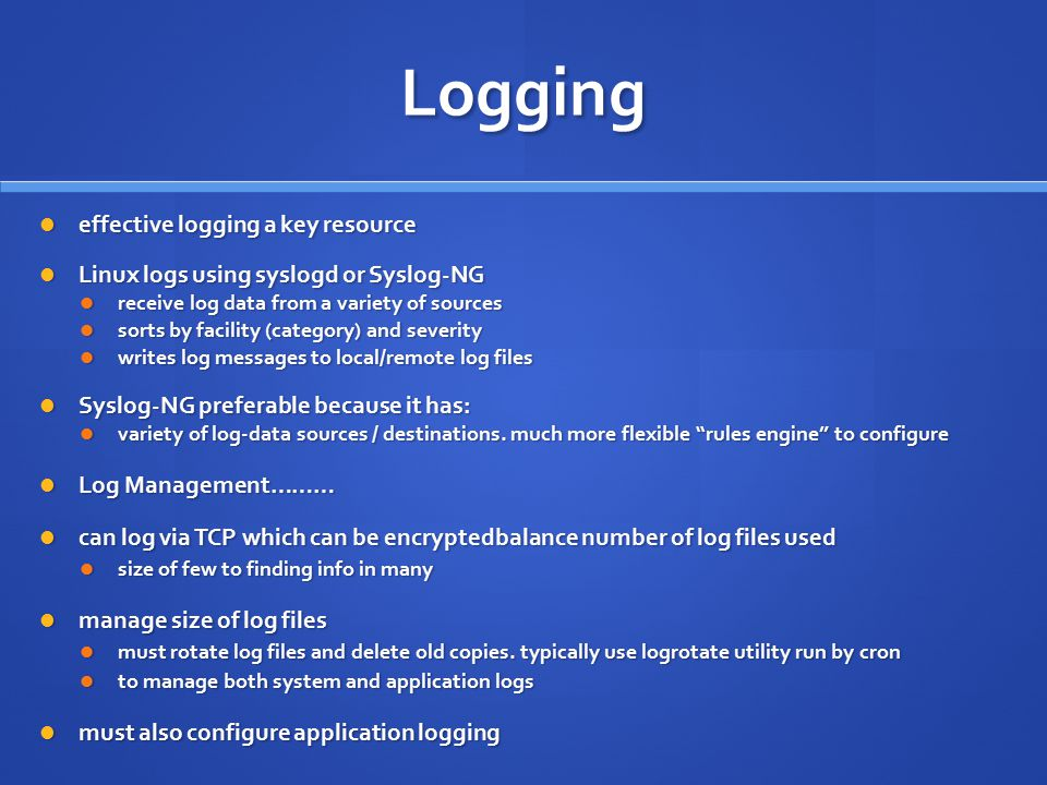 Logging effective logging a key resource