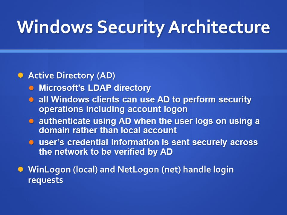 Windows Security Architecture