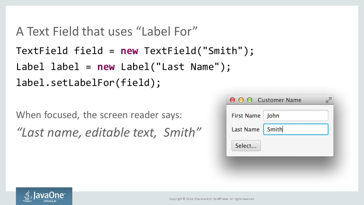 A Text Field that uses Label For