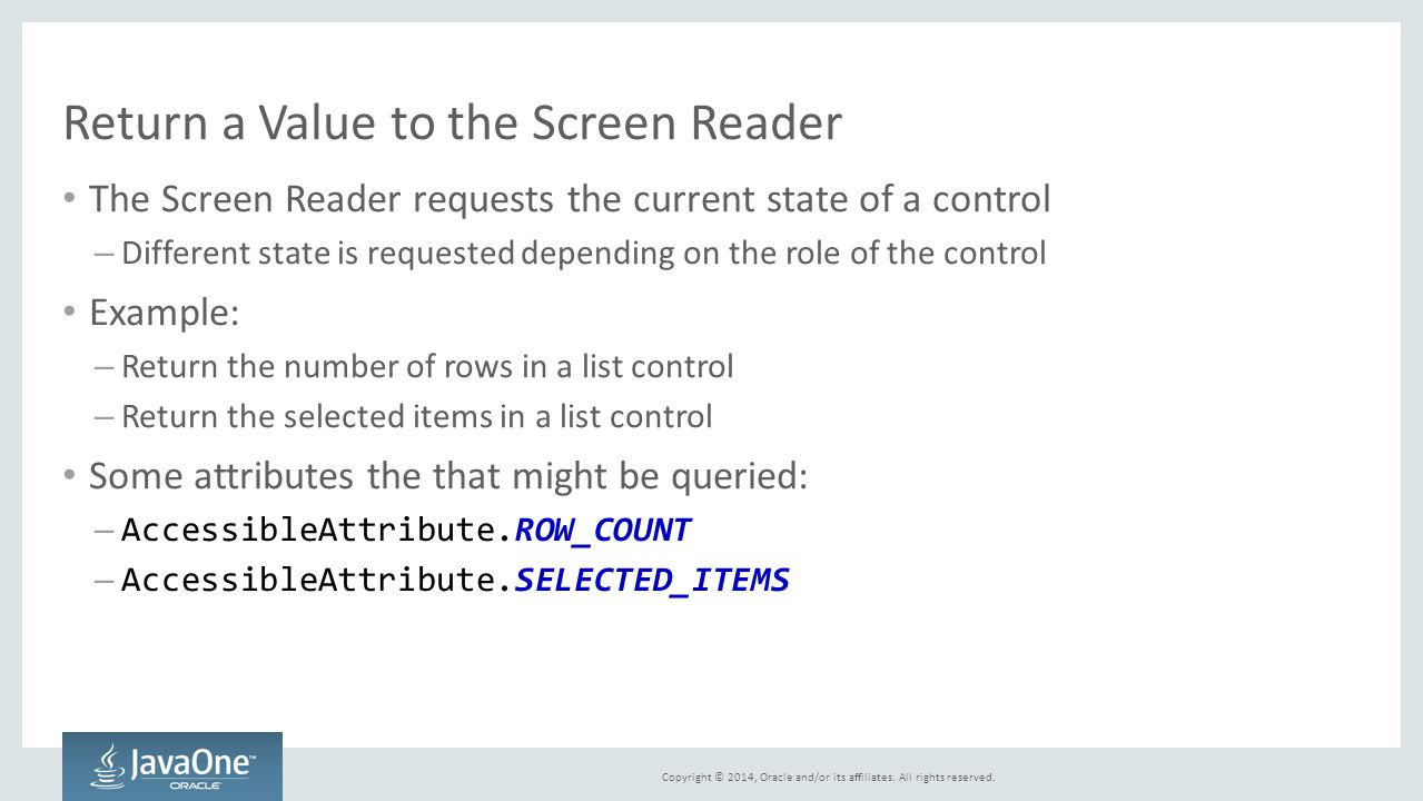 Return a Value to the Screen Reader