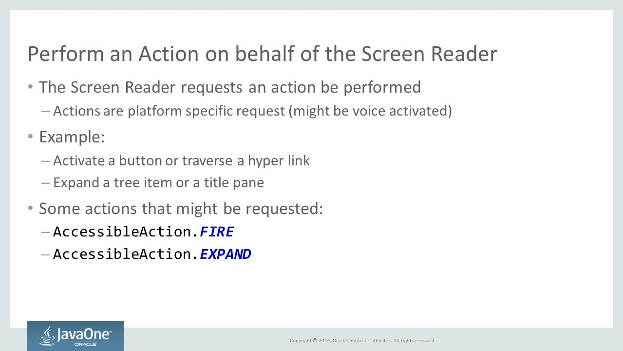 Perform an Action on behalf of the Screen Reader