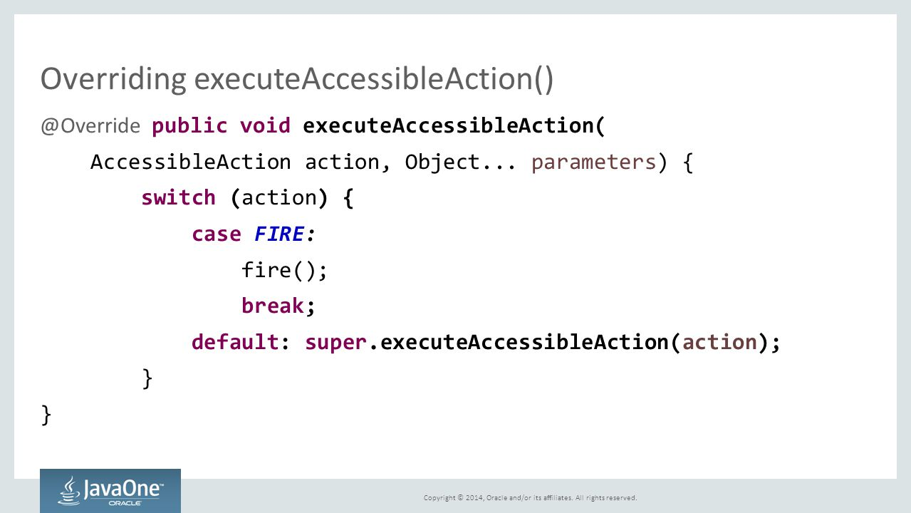 Overriding executeAccessibleAction()