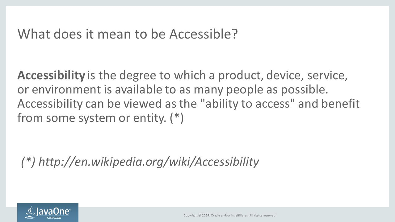 What does it mean to be Accessible