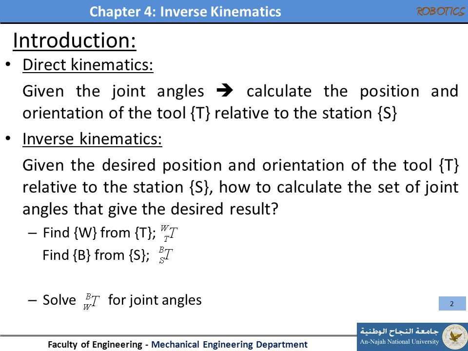 Introduction: Direct kinematics: