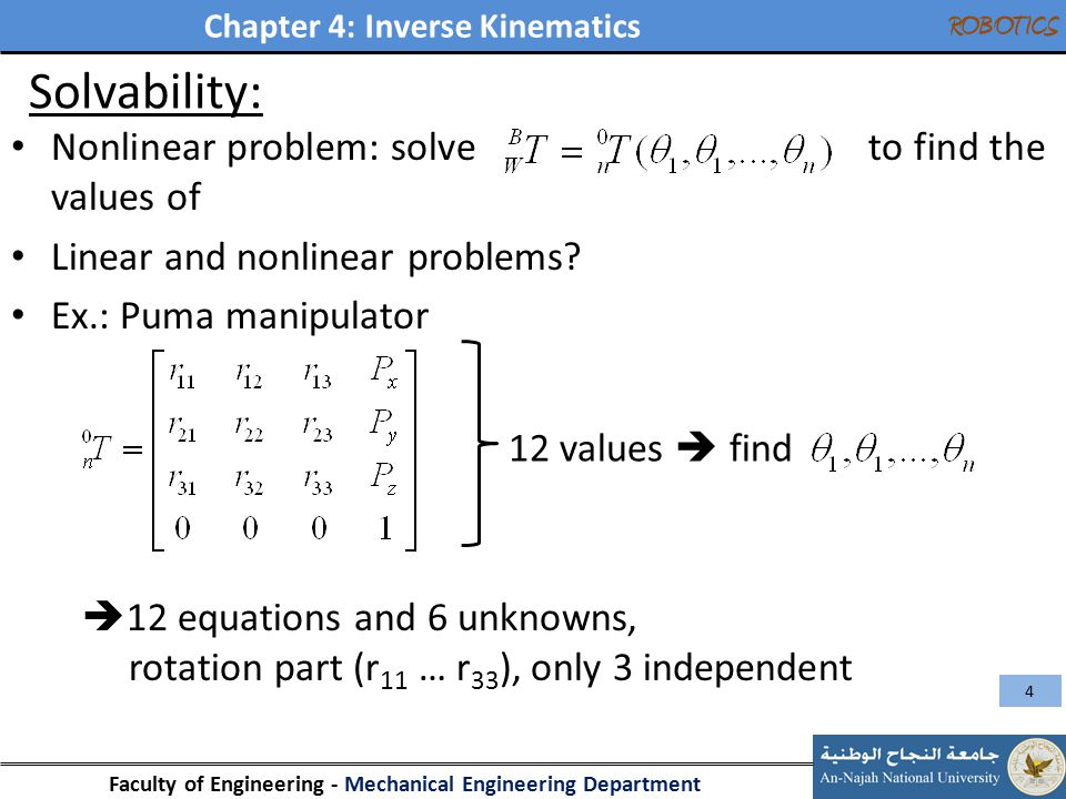 Solvability: Nonlinear problem: solve to find the values of