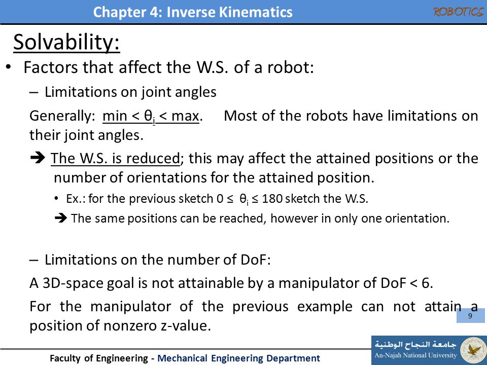 Solvability: Factors that affect the W.S. of a robot: