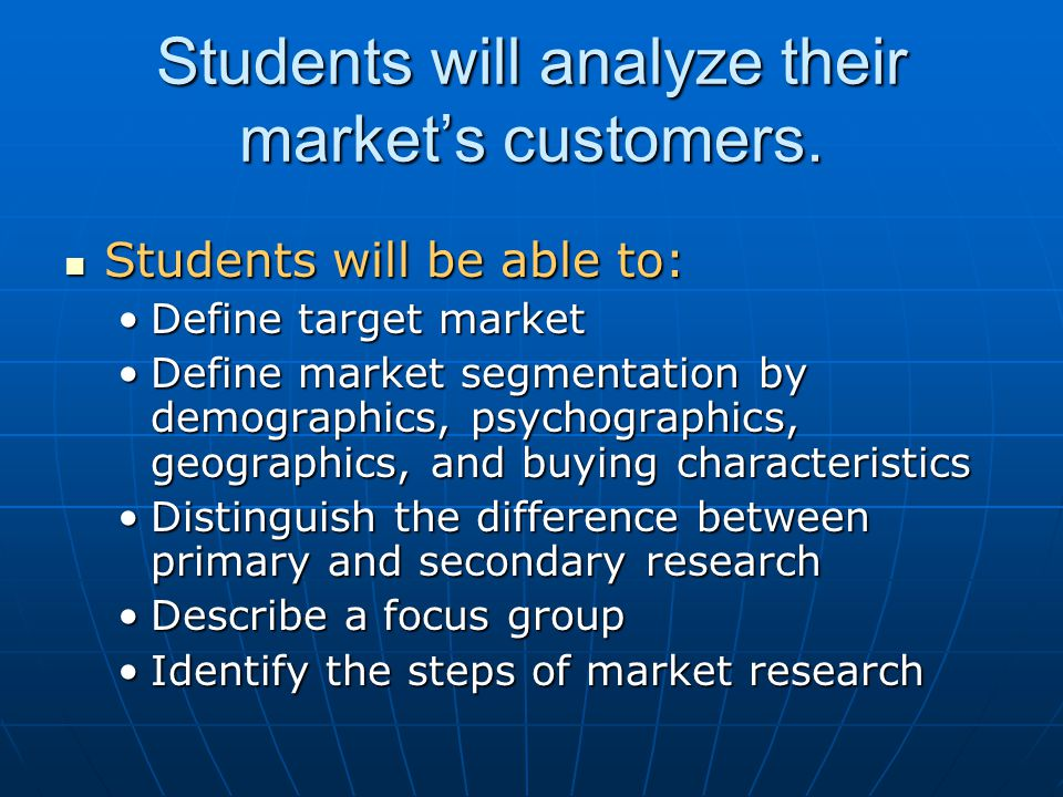 Students will analyze their market's customers.