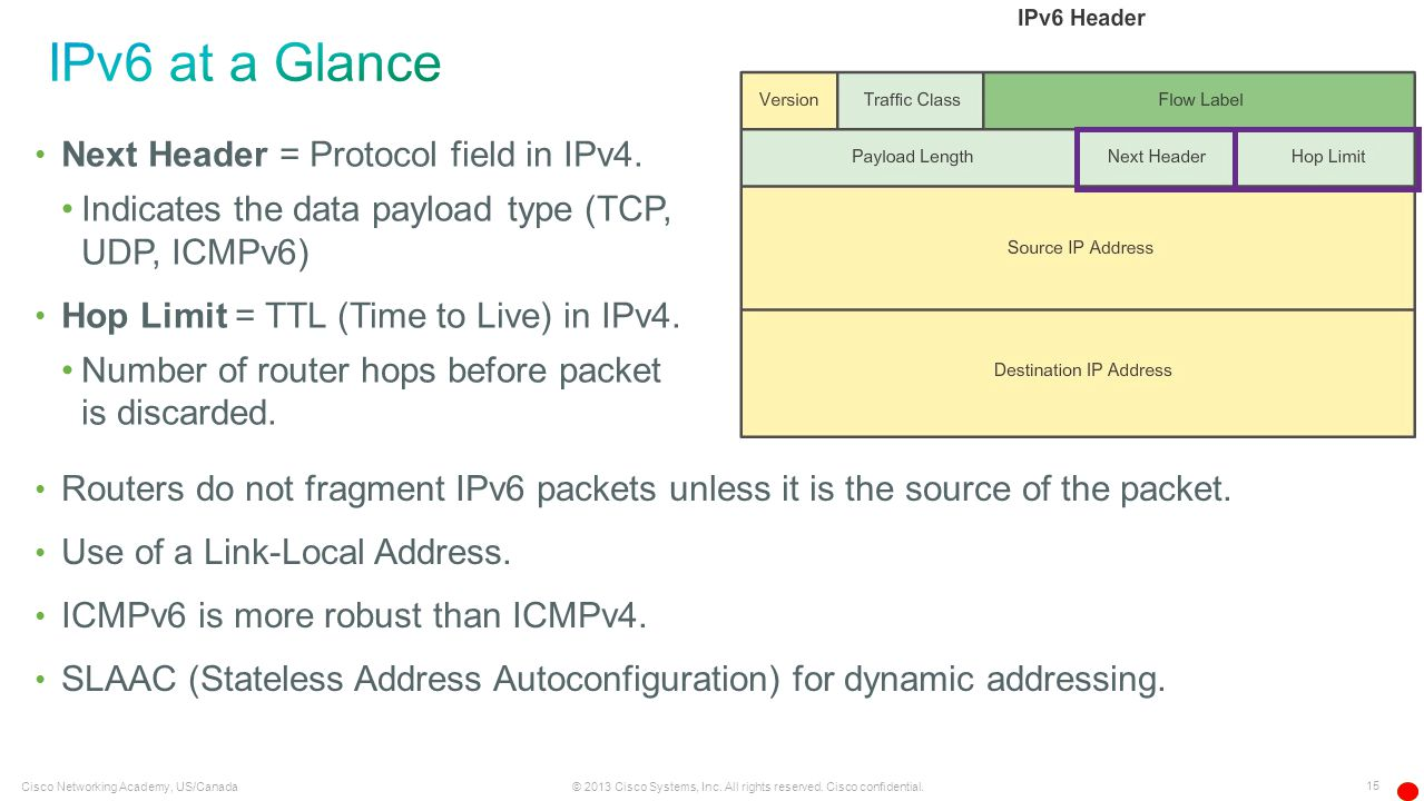 IPv6 at a Glance Next Header = Protocol field in IPv4.