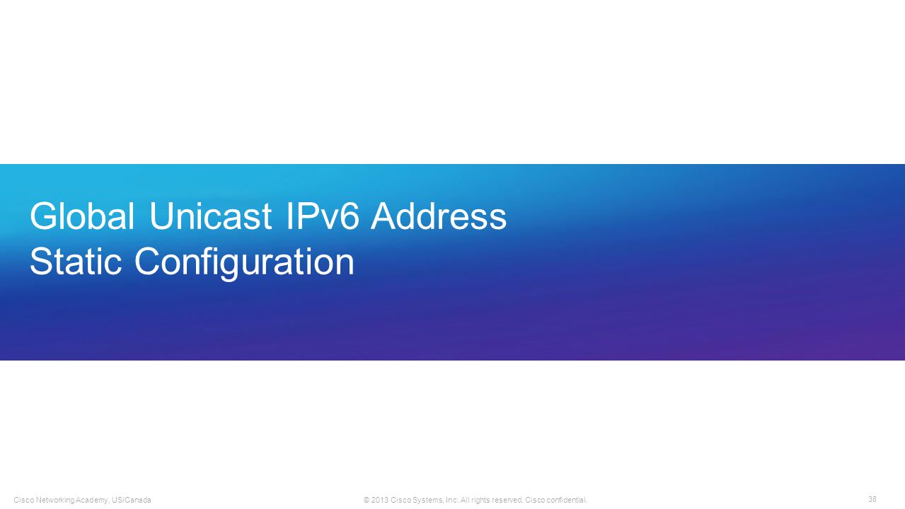 Global Unicast IPv6 Address Static Configuration