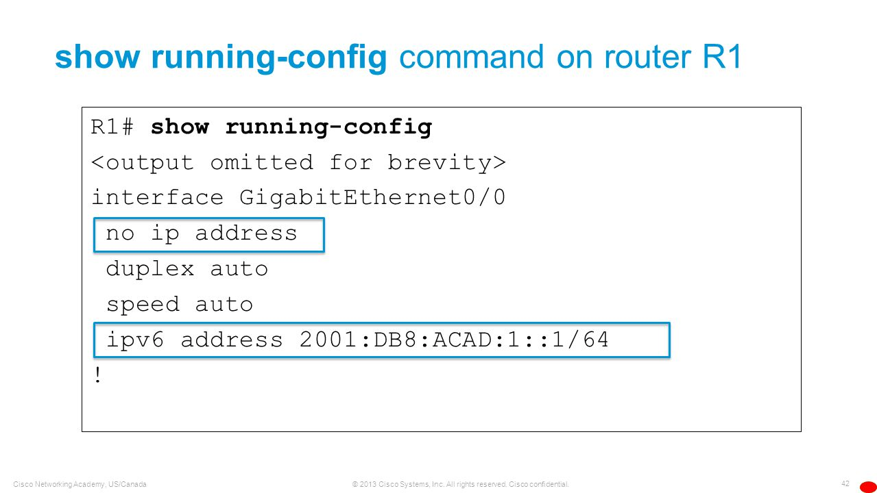 show running-config command on router R1