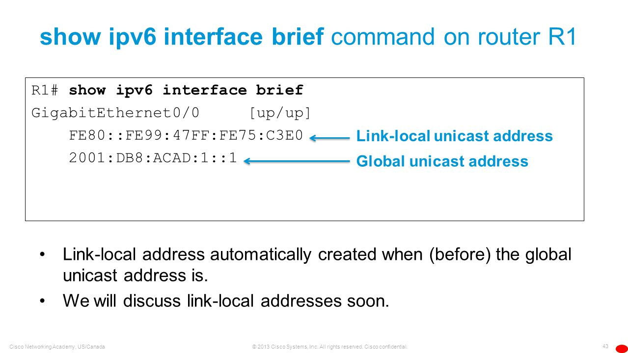 show ipv6 interface brief command on router R1