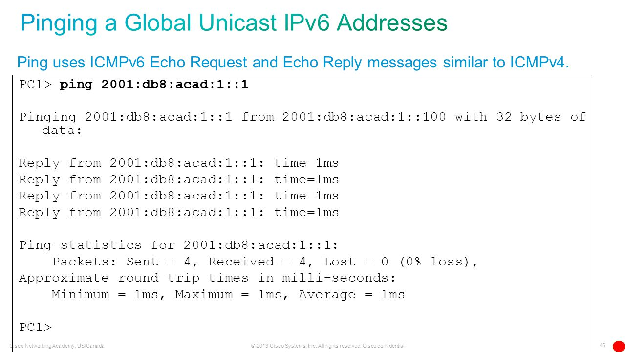 Pinging a Global Unicast IPv6 Addresses