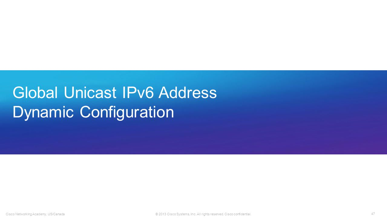 Global Unicast IPv6 Address Dynamic Configuration