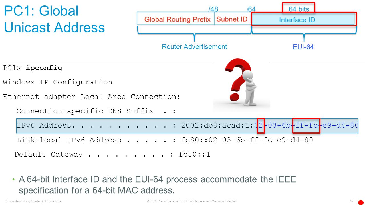 PC1: Global Unicast Address