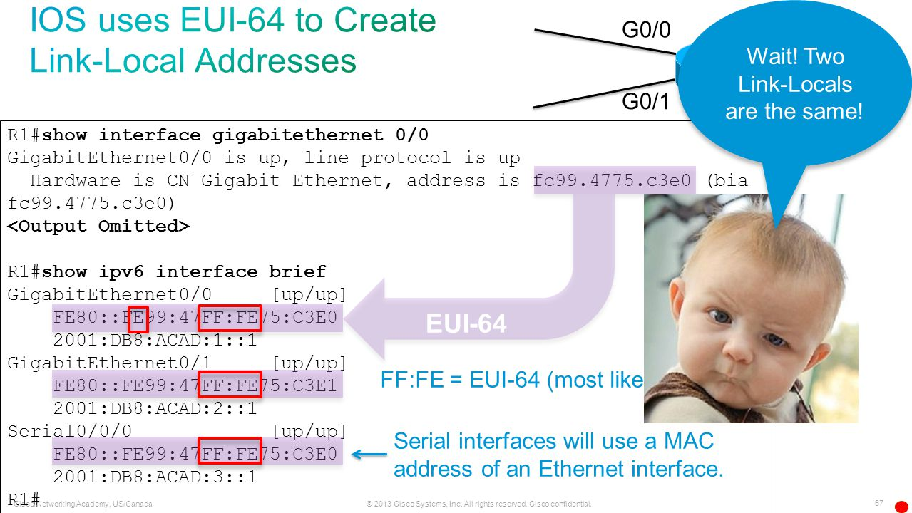 IOS uses EUI-64 to Create Link-Local Addresses