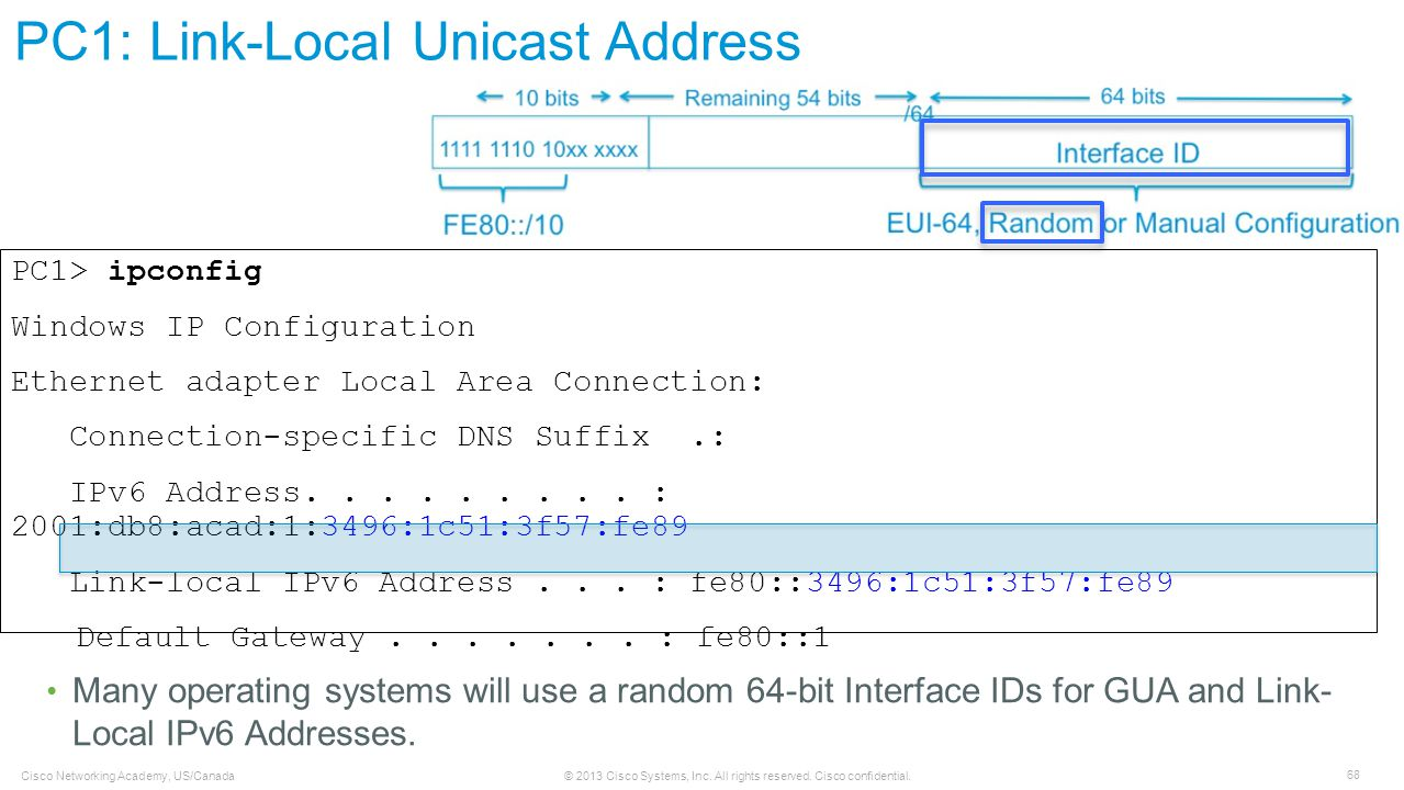 PC1: Link-Local Unicast Address