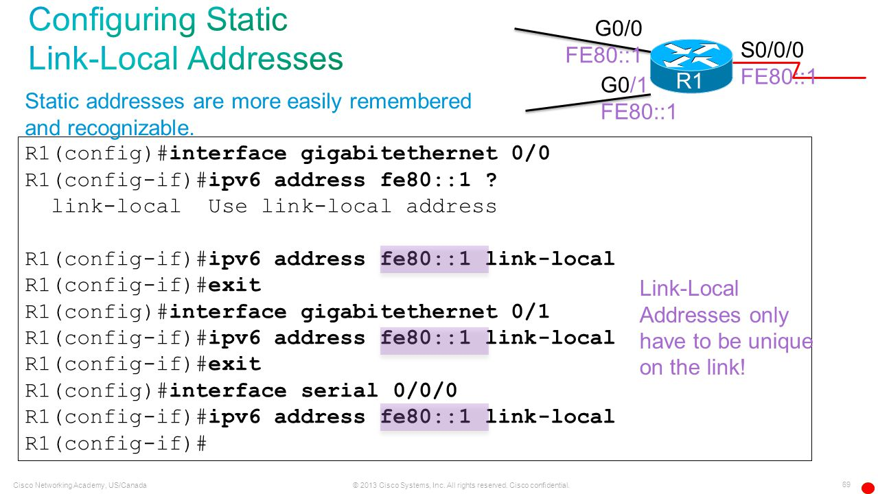 Configuring Static Link-Local Addresses