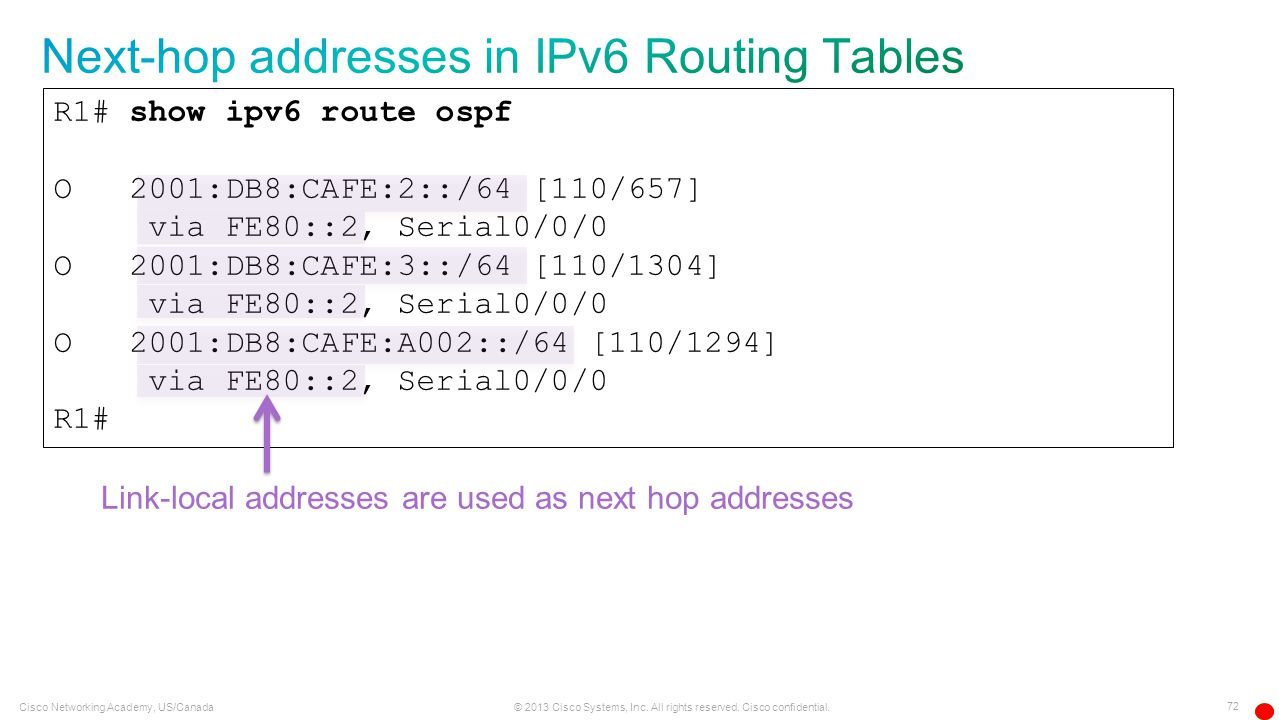 Next-hop addresses in IPv6 Routing Tables