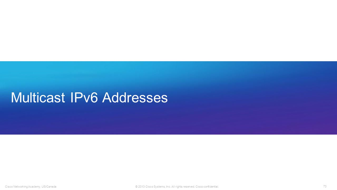 Multicast IPv6 Addresses