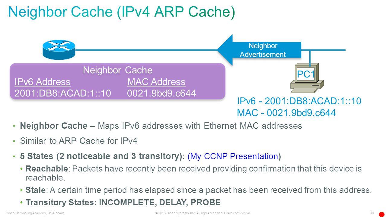 Neighbor Cache (IPv4 ARP Cache)