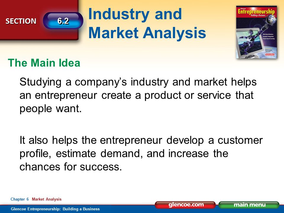 The Main Idea Studying a company's industry and market helps an entrepreneur create a product or service that people want.