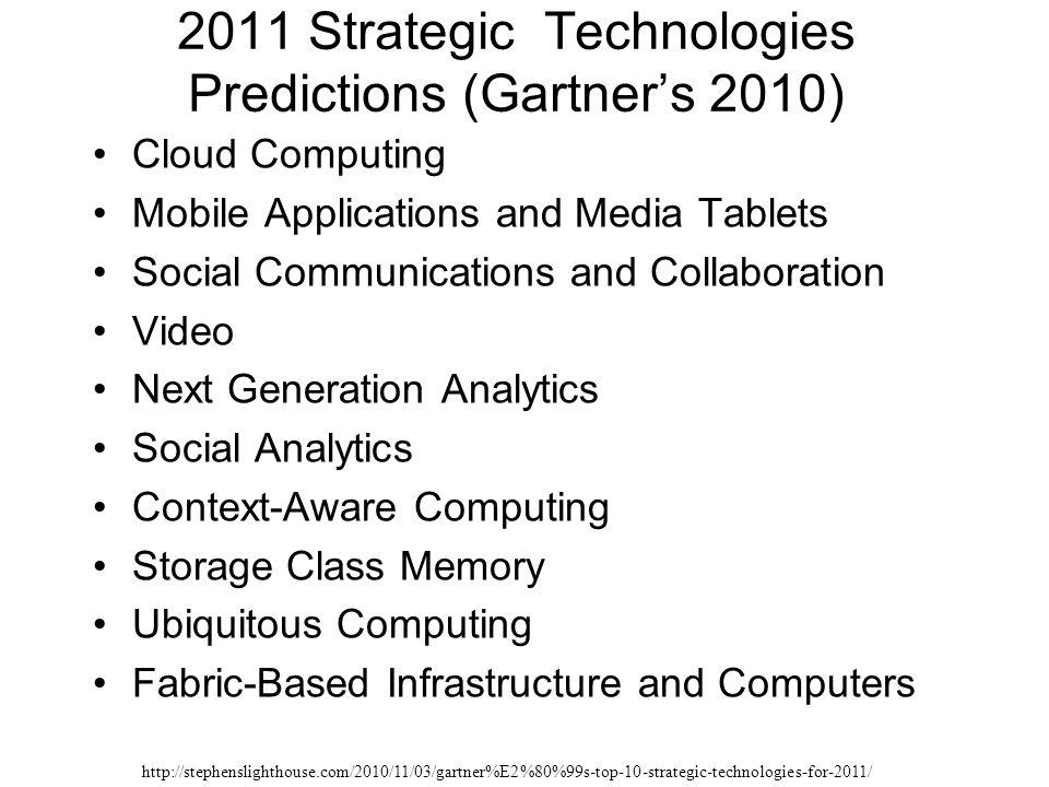 2011 Strategic Technologies Predictions (Gartner's 2010)