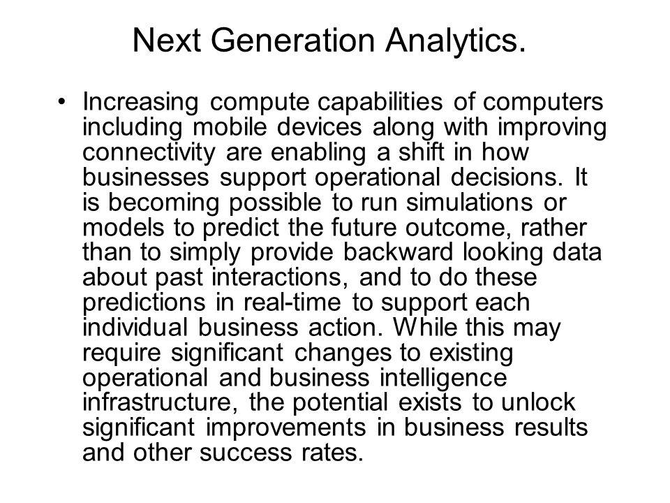 Next Generation Analytics.