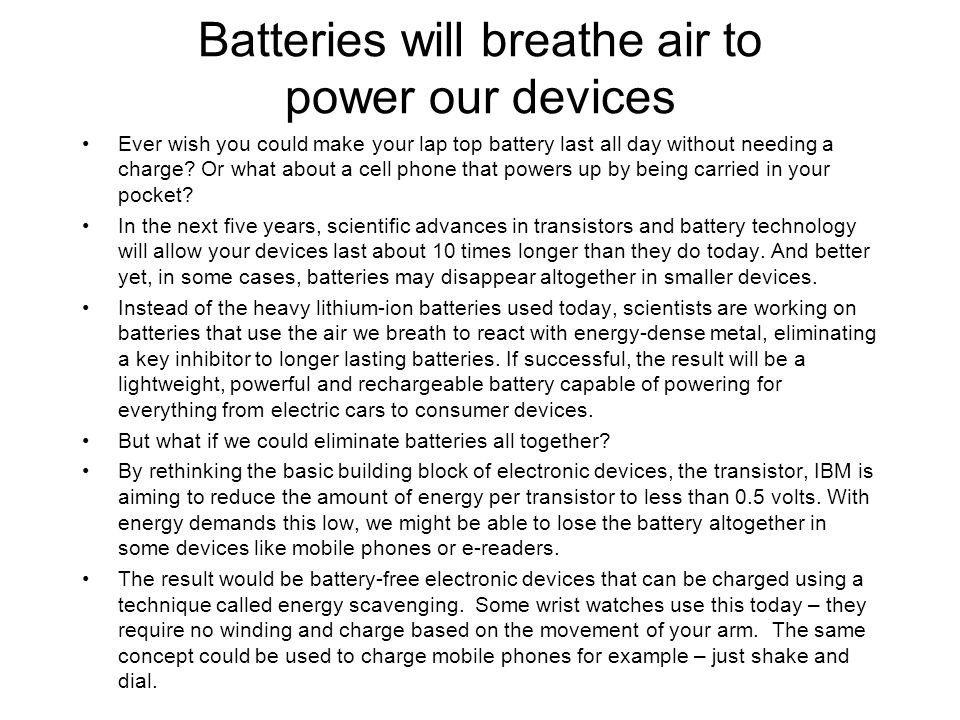 Batteries will breathe air to power our devices