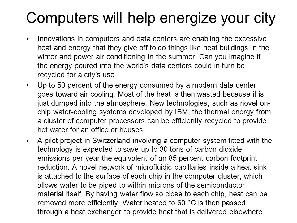 Computers will help energize your city