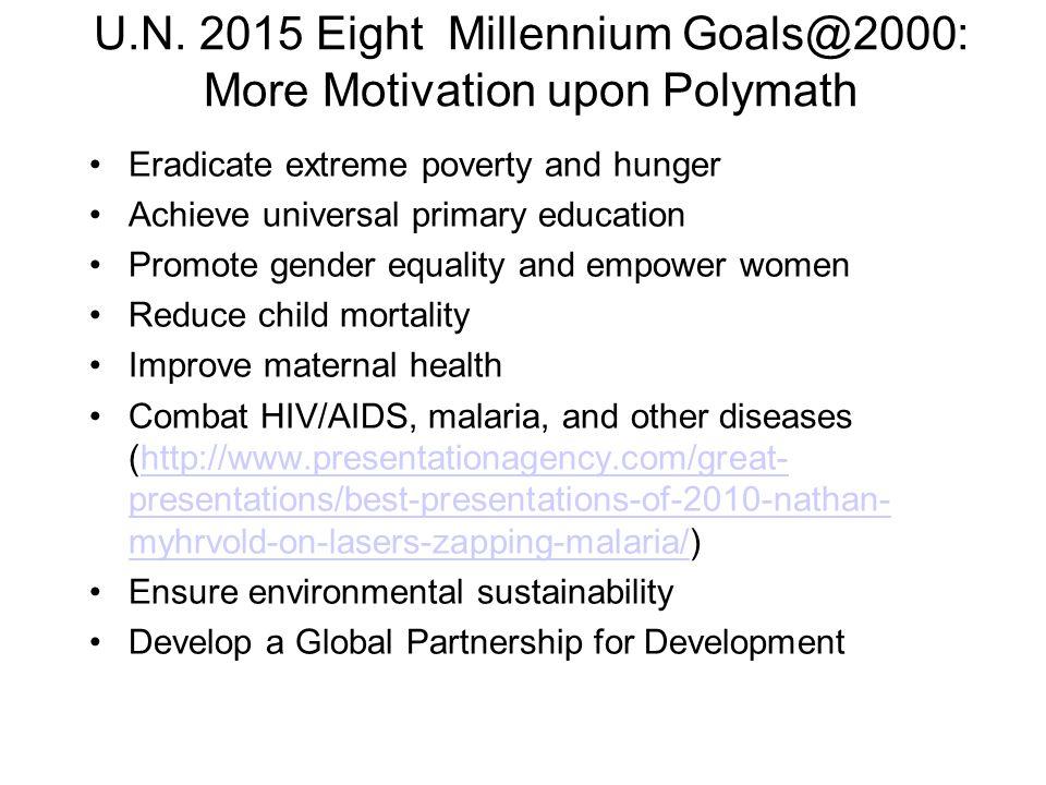U.N. 2015 Eight Millennium Goals@2000: More Motivation upon Polymath