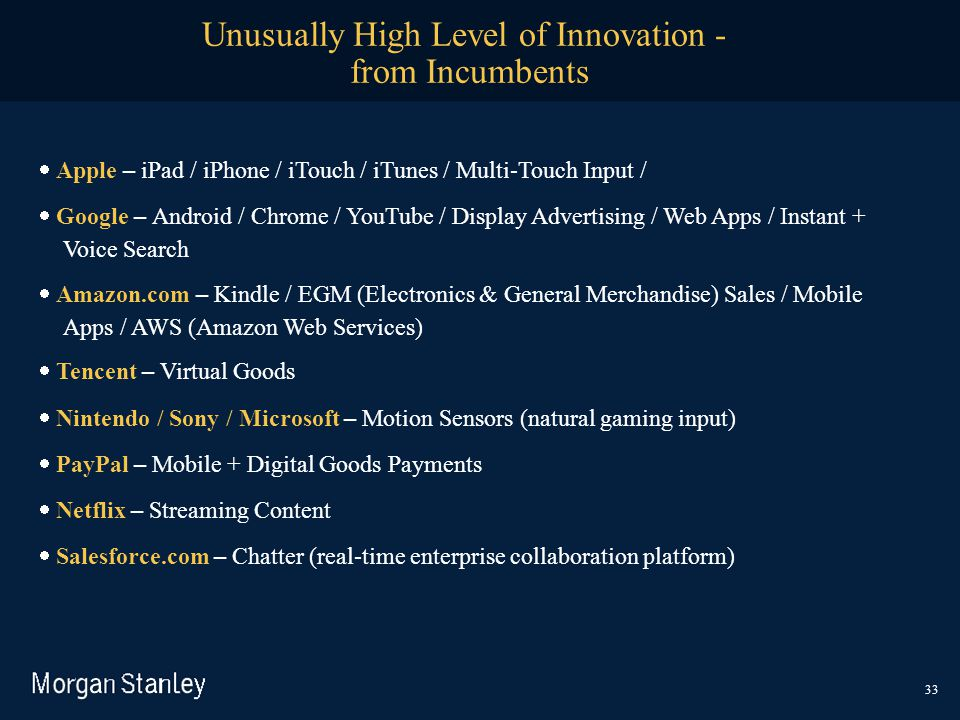 Unusually High Level of Innovation - from Incumbents