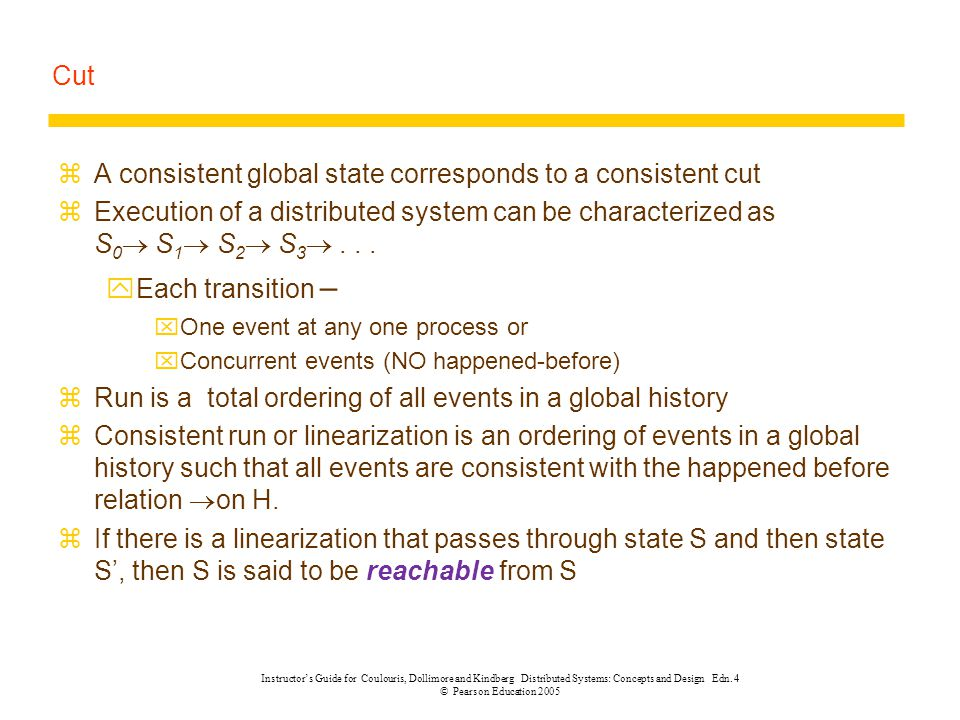 A consistent global state corresponds to a consistent cut
