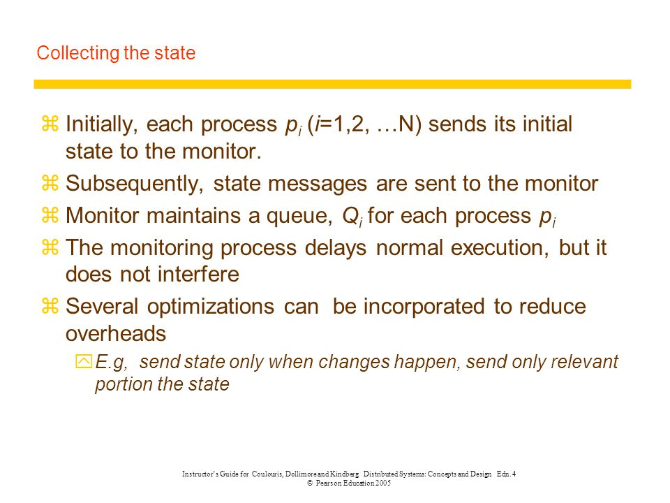 Subsequently, state messages are sent to the monitor