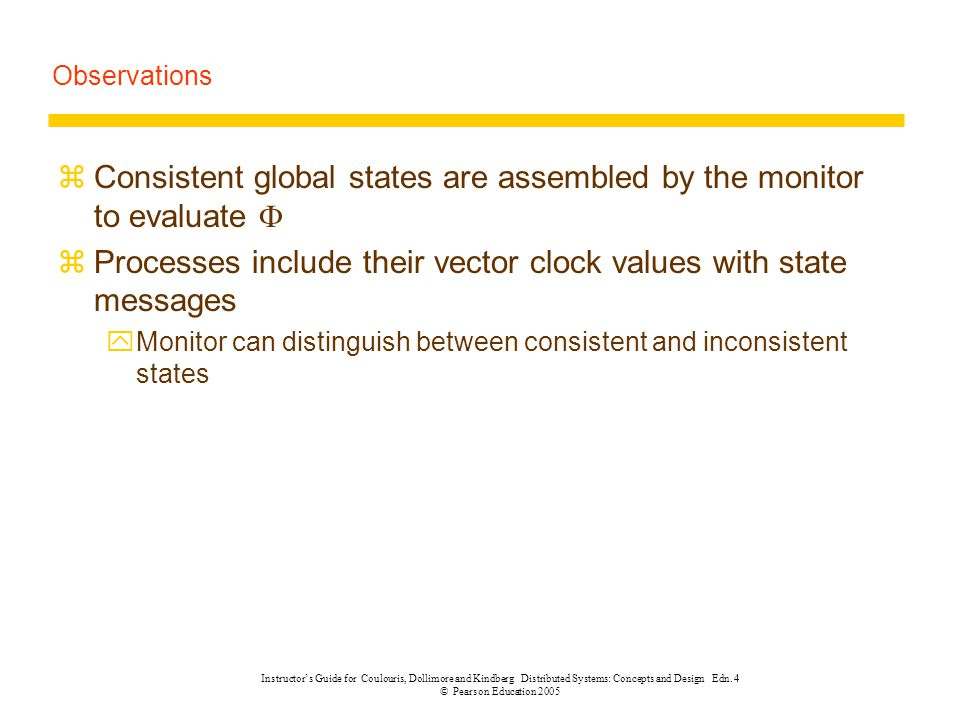 Consistent global states are assembled by the monitor to evaluate 