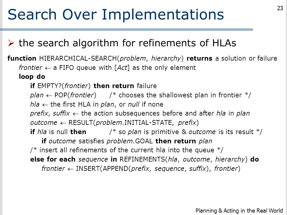 Search Over Implementations
