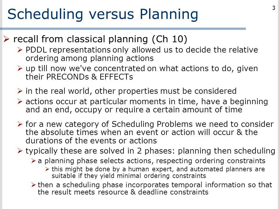Scheduling versus Planning